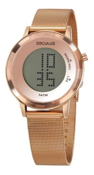 Relógio Seculus Digital Esteira Rosê 77046lpsvrs2