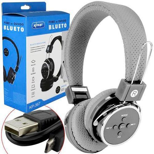 Fone De Ouvido Com Bluetooth, Mp3 E Mp4, Micro Sd