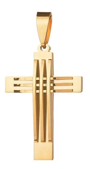 Pingente Masculino Crucifixo Grande B-1883 Aço Banhado Ouro