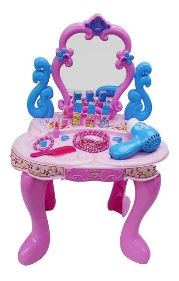 Penteadeira Para Criança Espelho Magico Fashion Som Luz Rosa