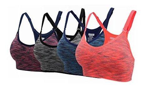 ohlyah Womens Adjustable Padded Sports Bra Racerback Yoga Bras Pack JH05-01