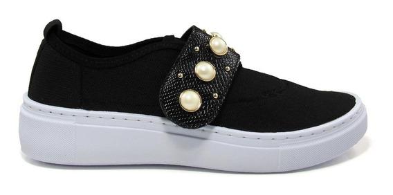 Tênis Slip On Feminino Olfer Shoes 1248-012 Pérola