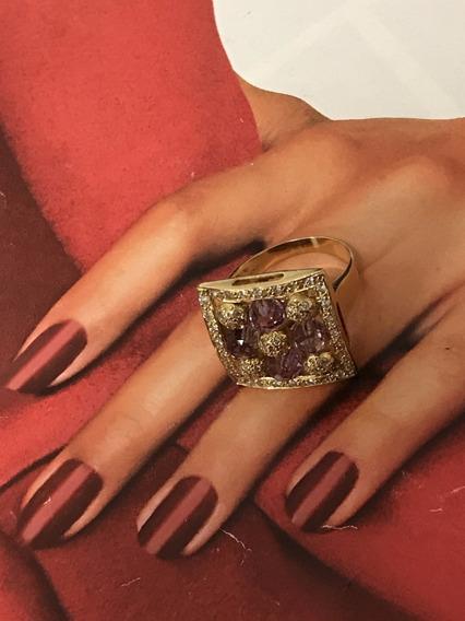Anel Em Ouro Com Pedras E Diamantes, 9,7 Gramas, Aro 17/18