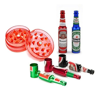 Pipa Botella + Rascador Grinder Trillador Acrílico Pequeño