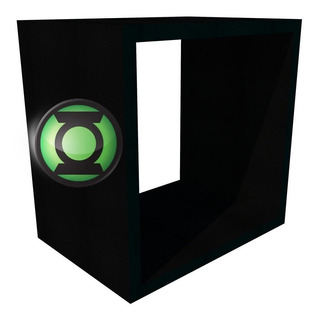 Nicho Super Heroi Lanterna Verde 100% Mdf Preto Tx 28x28x20c