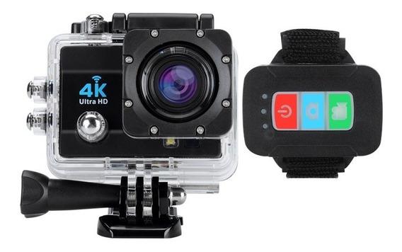 Câmera Esporte Prova Dágua 4k Wifi Action Controle 2 Bateria