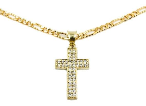 Medalla Cruz Brillante Oro 10k + Hermosa Cadena De Regalo