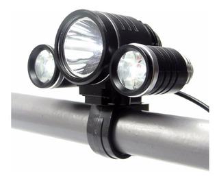 Lanterna Farol Cabeça Bike Tripla Led T6+ R5/250000l+ 2 Pilh