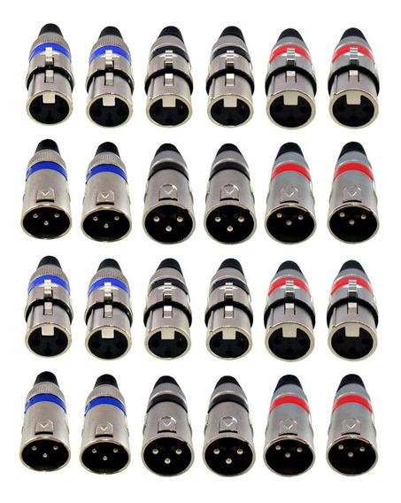 Kit 24 Plugs Canon Xlr Macho Femea Microfone Dmx Coloridos