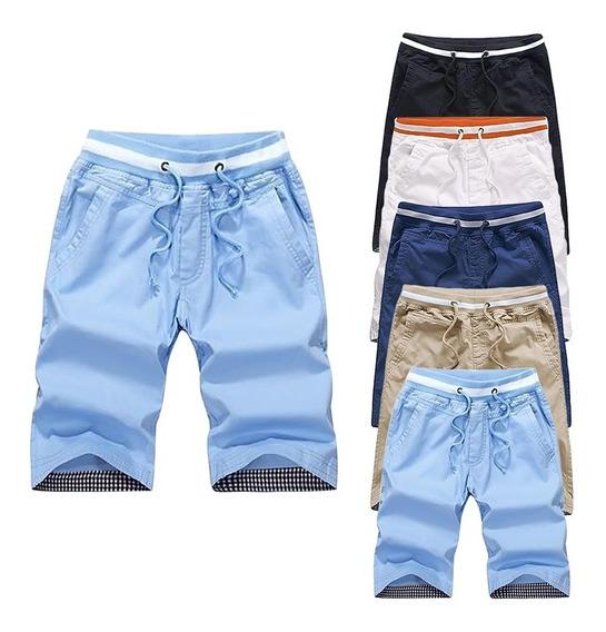 Pantalones Cortos Hombres Verano Ocio Algodón Playa Delgada