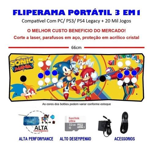 Imagem 1 de 3 de Fliperama Portátil Slim 3 Em 1 - Sonic Mania