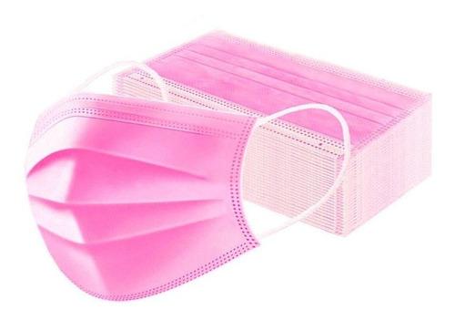Tapaboca Con Elástico Color Rosado Caja 50 Unidades.
