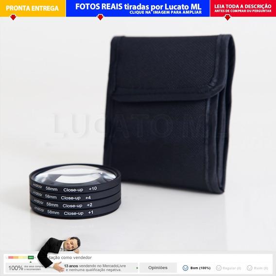 Kit Filtros Close-up Ø 58mm +1x +2x +4x +10x (17x) | Np