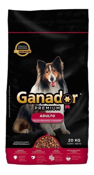 Alimento Ganador Premium perro adulto raza mediana/grande 20kg