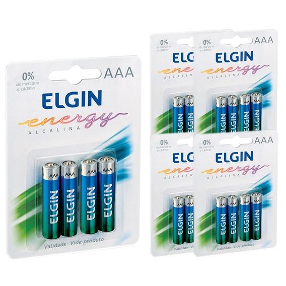 Pilha Alcalina Palito Aaa 5 Pacotes Com 4 Und Lr3 1,5v Elgin