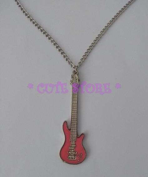 Colar Pingente De Guitarra Rosa Rosinha Rock Prateado