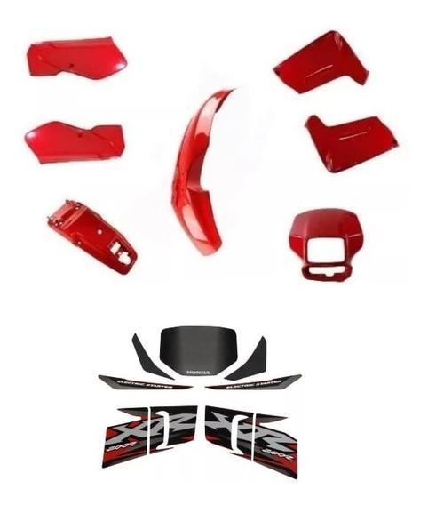 Carenagem Adesivado Xr 200 Vermelha 2002 8 Pçs