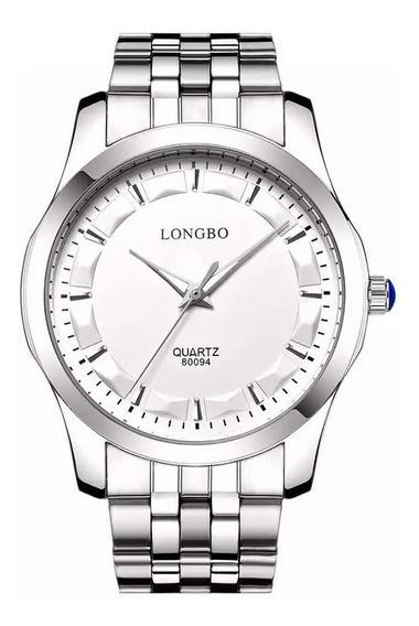 Relógio Longbo Masculino Prata Analógico Casual Original