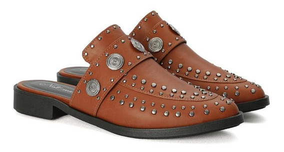 Sapato Casual Mule Tachas Couro Sintético Feminino Not-me