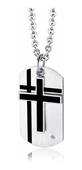Collar Militar Cruz Dog Tag Placa Identificación Pareja Moda