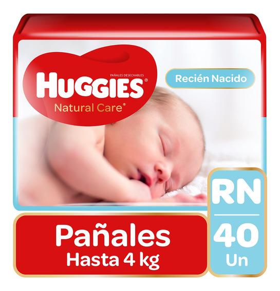 Pañales Huggies Natural Care Unisex 40 Unidades Talla Rn