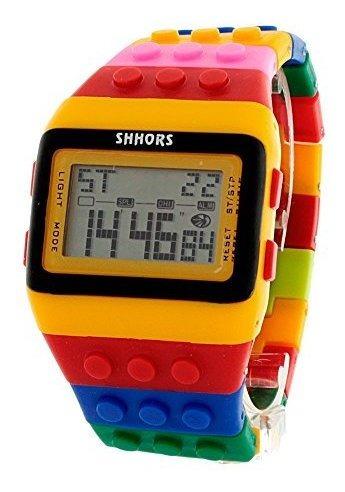 Shhors Reloj Digital Unisex Ajustable Bloque Con Múltiples