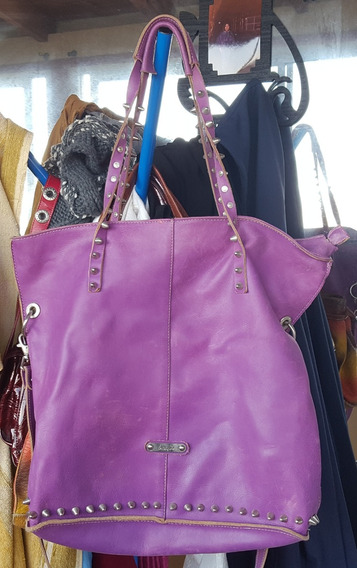 Bolso De Cuero Genuino Blaque Color Violeta