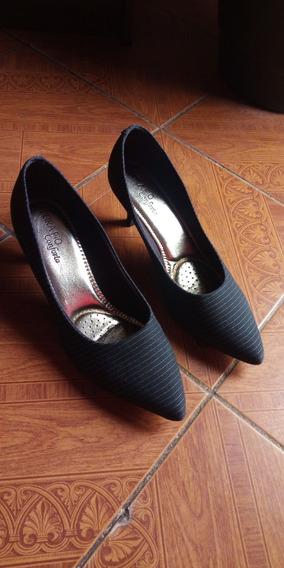Sapato Feminino Salto Beira Rio Cinza Em Bom Estado Número 40