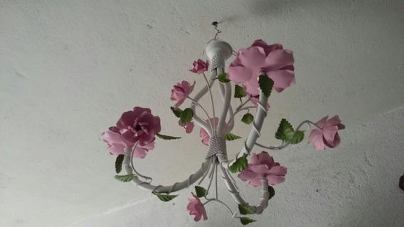 Lustre Rosas 3 Lâmpadas