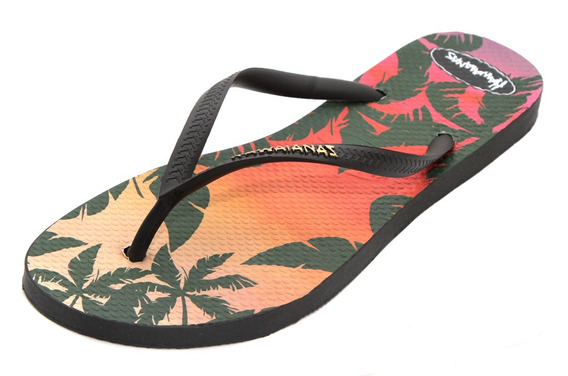 Ojotas Hawaianas De Dama Slim Estampada Sunset