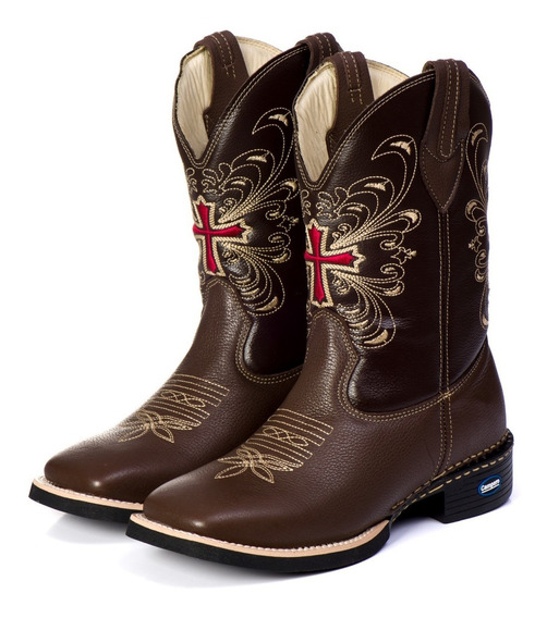 Bota Country Feminina Texana Bico Quadrado Cano Longo