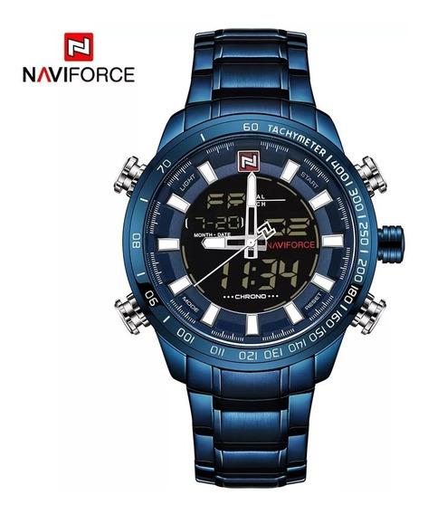 Relógio Masculino Naviforce 9093 Original Azul Oferta