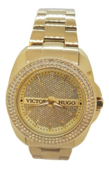 Relógio Feminino Dourado Victor Hugo - Vh10103lsg/22m