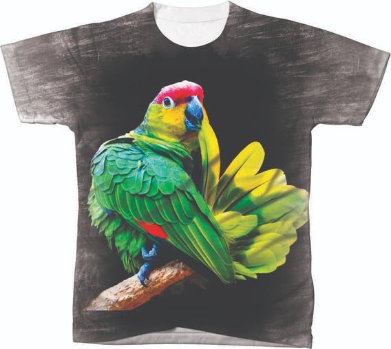Camisa Camiseta Animal Pássaro Ave Papagaio Verde Amazona 03