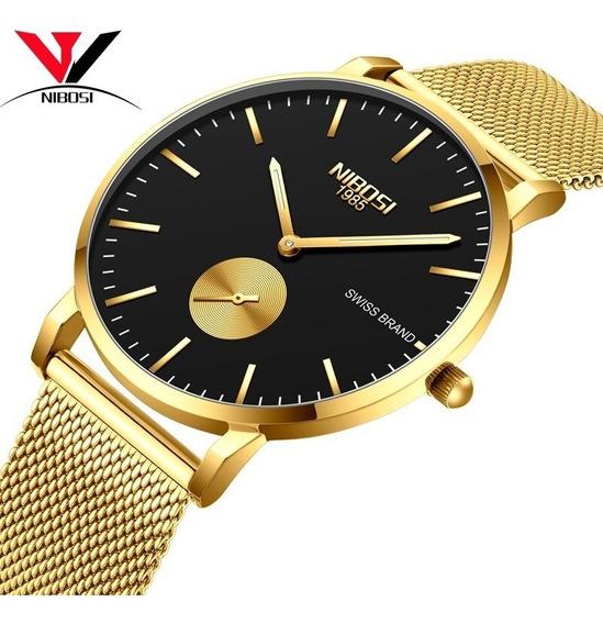 Relógios Nibosi Fino Relógios Homens Unisex Relógios Simples