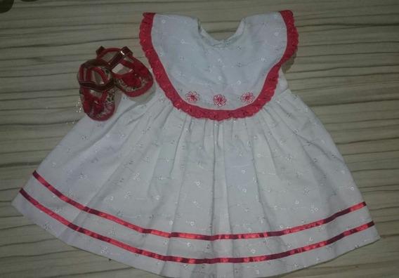 Vestido Bordado Fitas Vermelhas Festa Aniversario Princesa