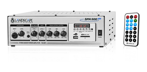 Stereo Mixer Power Amplifier Spa500 Usb