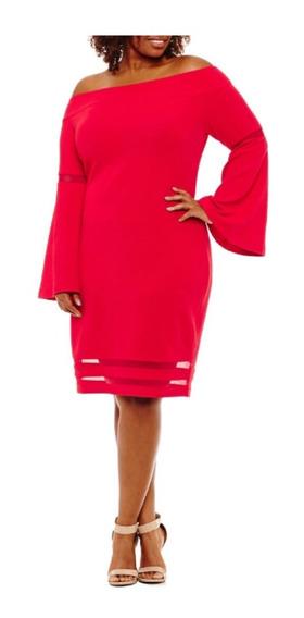 Vestido Tallas Extras Fiesta Rojo Manga Larga Moderno Curvy