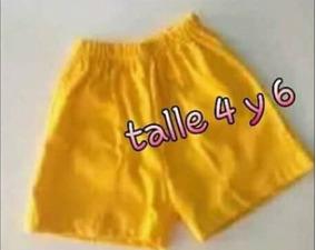 Short Escolar De Tela Arciel Amarillo Talle 4 Y 6 Nuevo