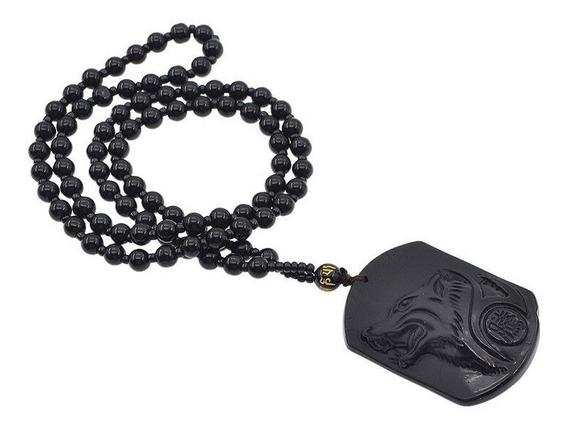 Collar De Cuarzo Obsidiana Y Dije De Lobo Tallado A Mano