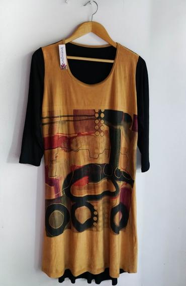 Vestido De Diseño En Tela Gamuzada T.x.l. - Nuevo -