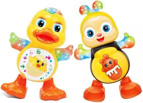 Kit Pato + Abelha Brinquedo Musical Dança Anda Mexe Luz Som