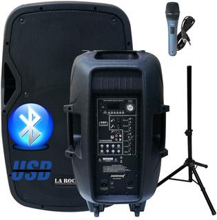 Bafle Potenciado 15 500w Bluetooth Usb Sd Fm Con Tripode - La Roca
