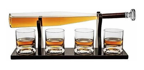Decantador De Whisky De Bate De Béisbol Y 4 Vasos De Whisky