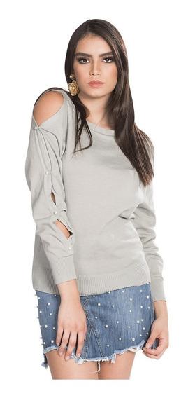 Sueter Dama Sin Hombros Perlas Sweater Ligero Gris O83201