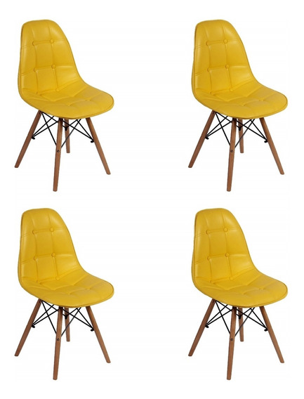 Conjunto 4 Cadeiras Dkr Charles Eames Wood Estofada Botonê