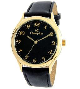 Relógio Champion Masculino Dourado Pulseira Couro Cn20024p
