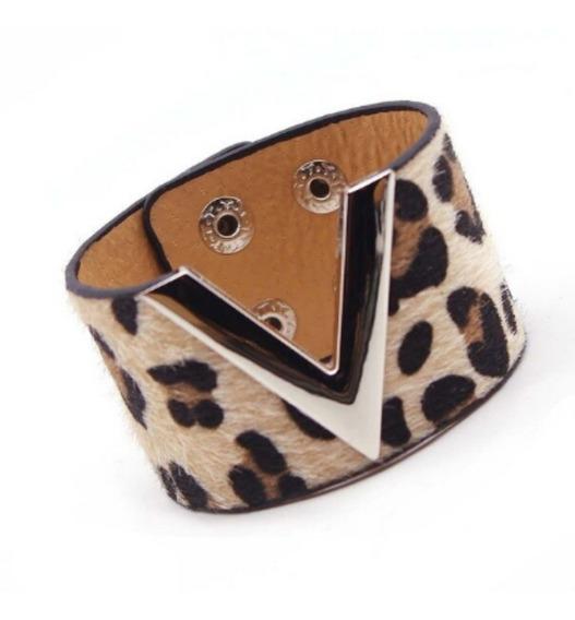 Pulseira Feminina Bracelete Couro Joia Moda Leopardo