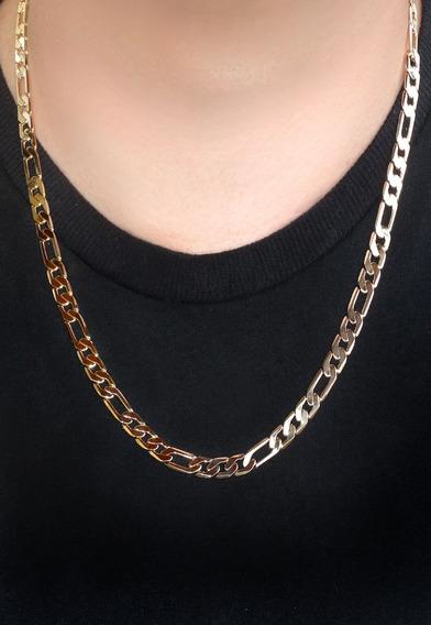 Cordão Masculino Grumet 3x1 60 Cm Banhado A Ouro