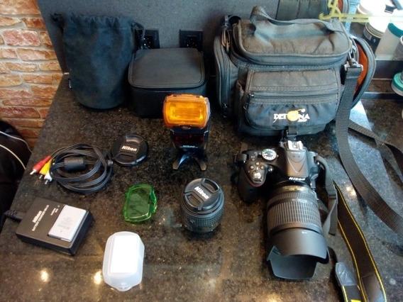 Câmera Nikond5200 Flash+lente+carregador.